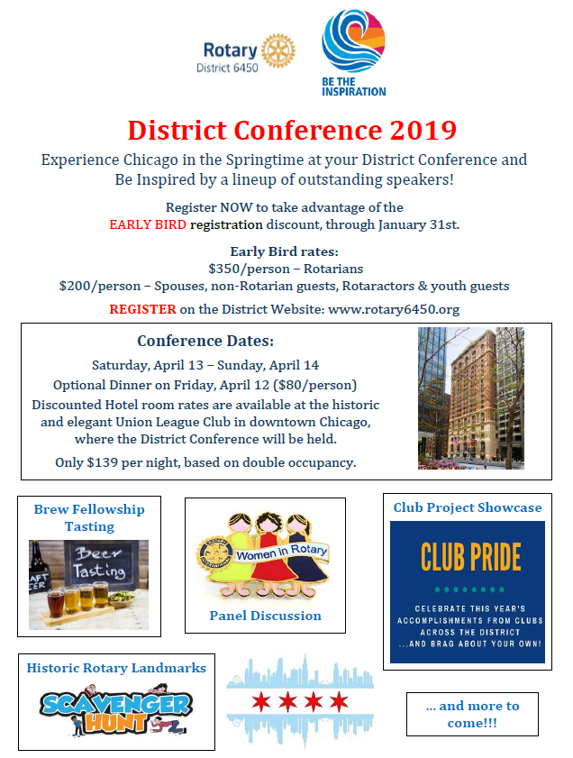 2019 early bird conference district