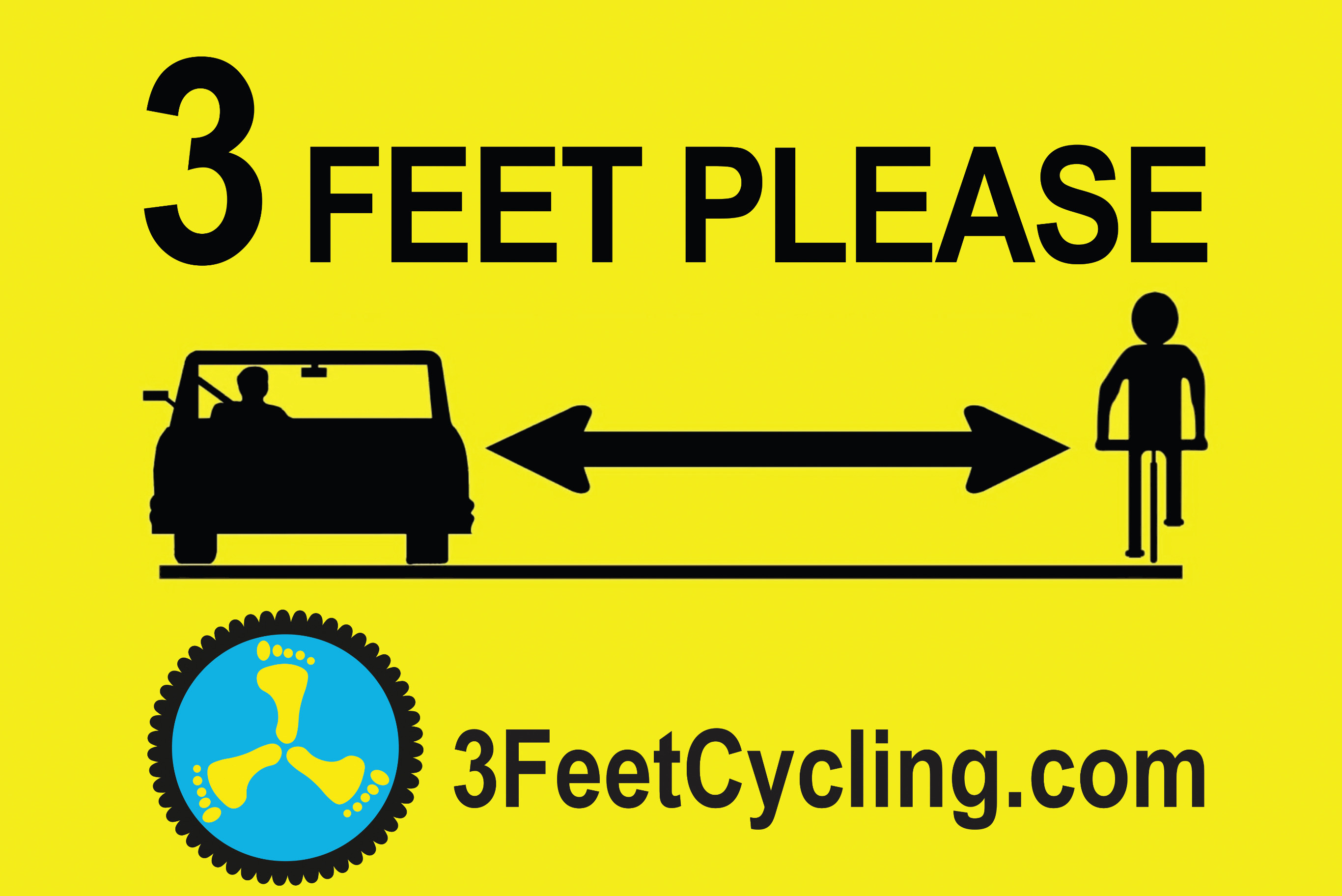 3 Feet When Passing Sign