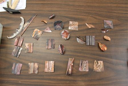 Fold Forming copper with Donna Madej.Attended by: Anne, Sans, Jackie, Donna, Barbara, Candy, Debra, Mary, Claire, & Priscilla