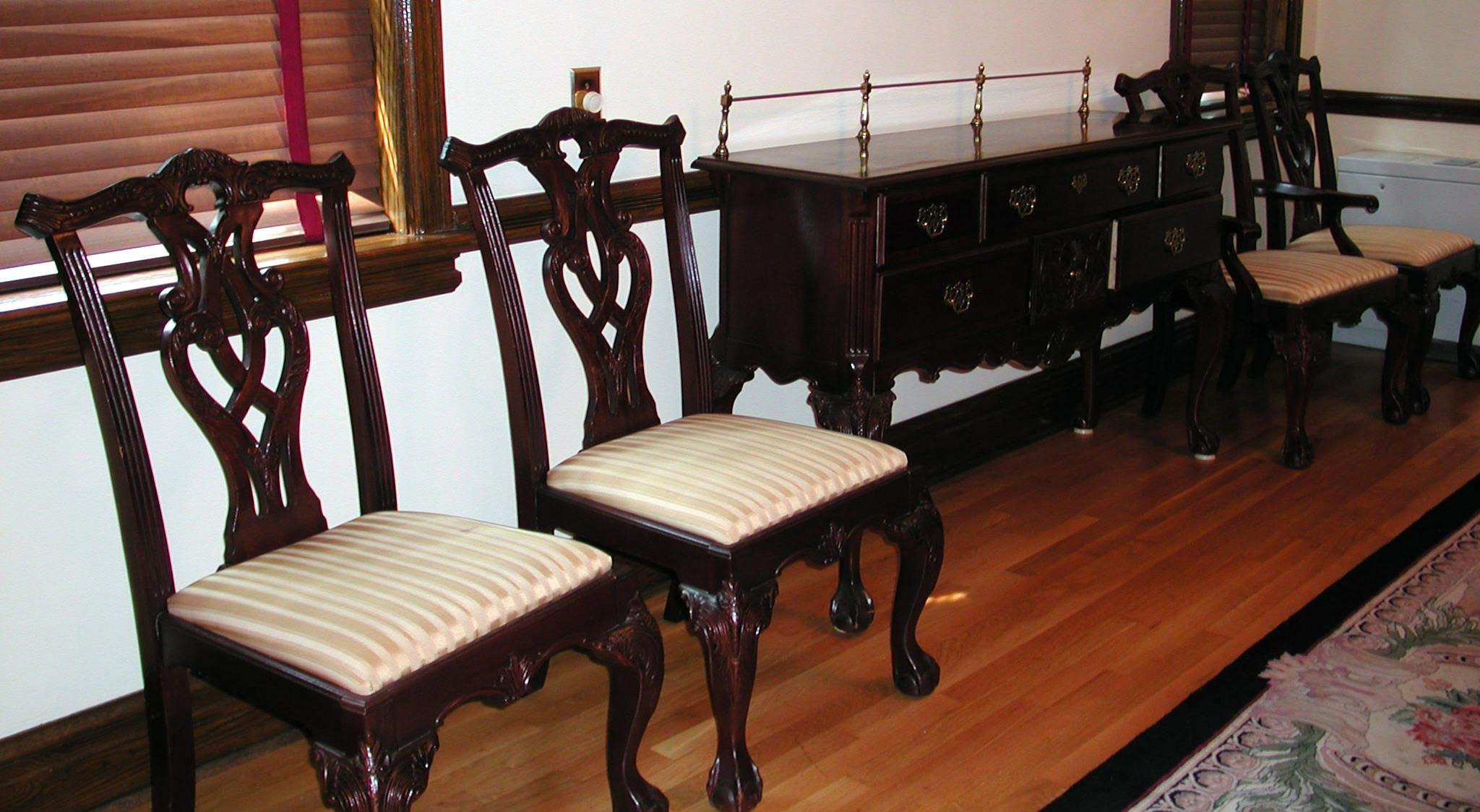 Chairs from the gifted dining room suite, circa 2000