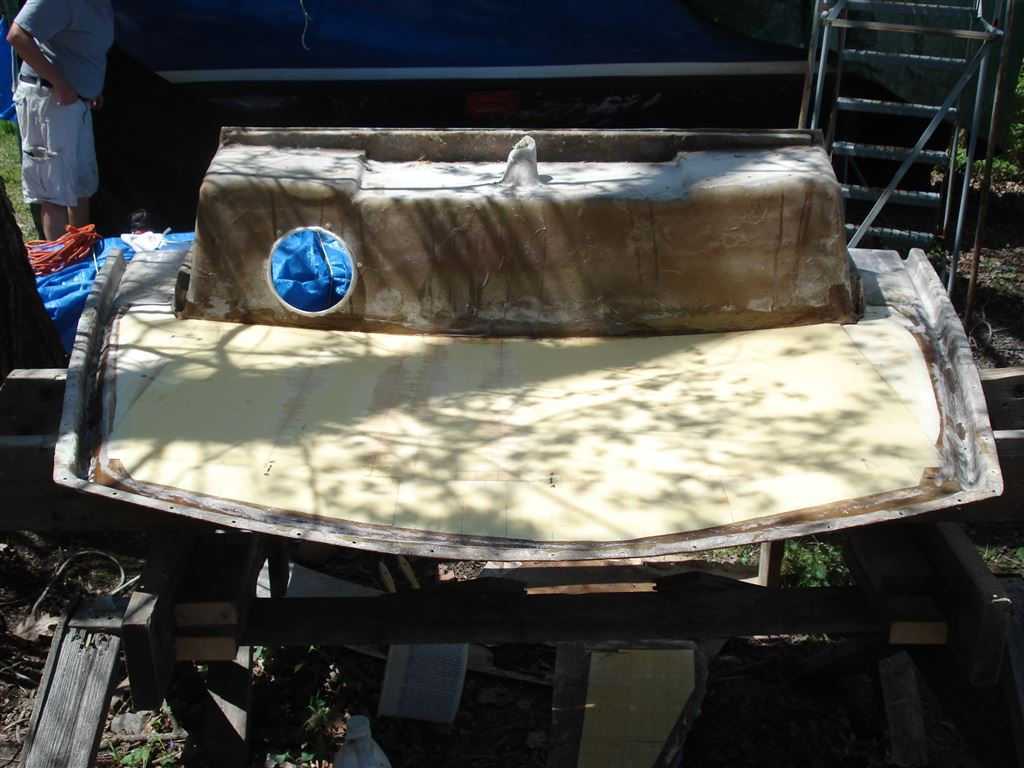 Stern Deck Repair of Ensign 23 - Saratoga Lake Sailing Club