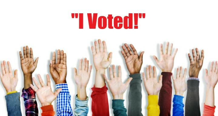 "raised hands: ""I voted"""