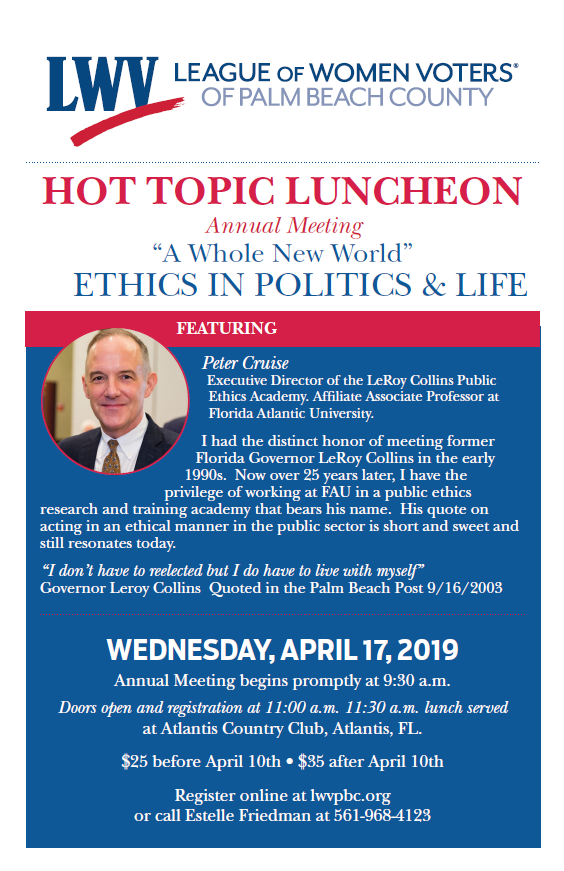 Hot Topics — Ethics in Politics and Life - 4/17/2019