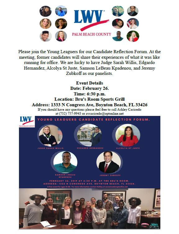 Young Leaguers Candidate Reflection Forum - 2/26/2019