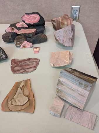 Some of the things at the February 2020 meeting. Pink stone for show and tell and JALAF, and the topic of the program; rocks that have been painted on.