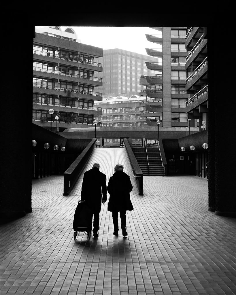 Street and architecture shot from in and around the Barbican in London