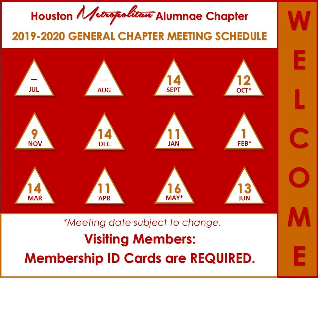 General Chapter Meetings 2019-2020