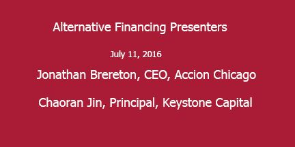 Still images of presenters:  Jonathan Brereton, CEO, Accion Chicago Chaoran Jin, Principal, Keystone Capital