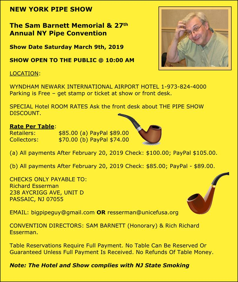 2019 NY Pipe Show Sam Barnet Flyer