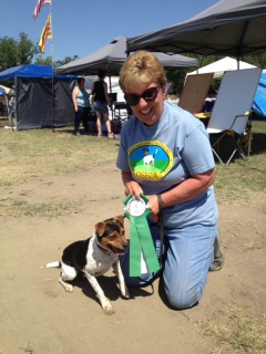Linda with Crow's Point Kennel's August. Photographer: Agile Dogs Photography