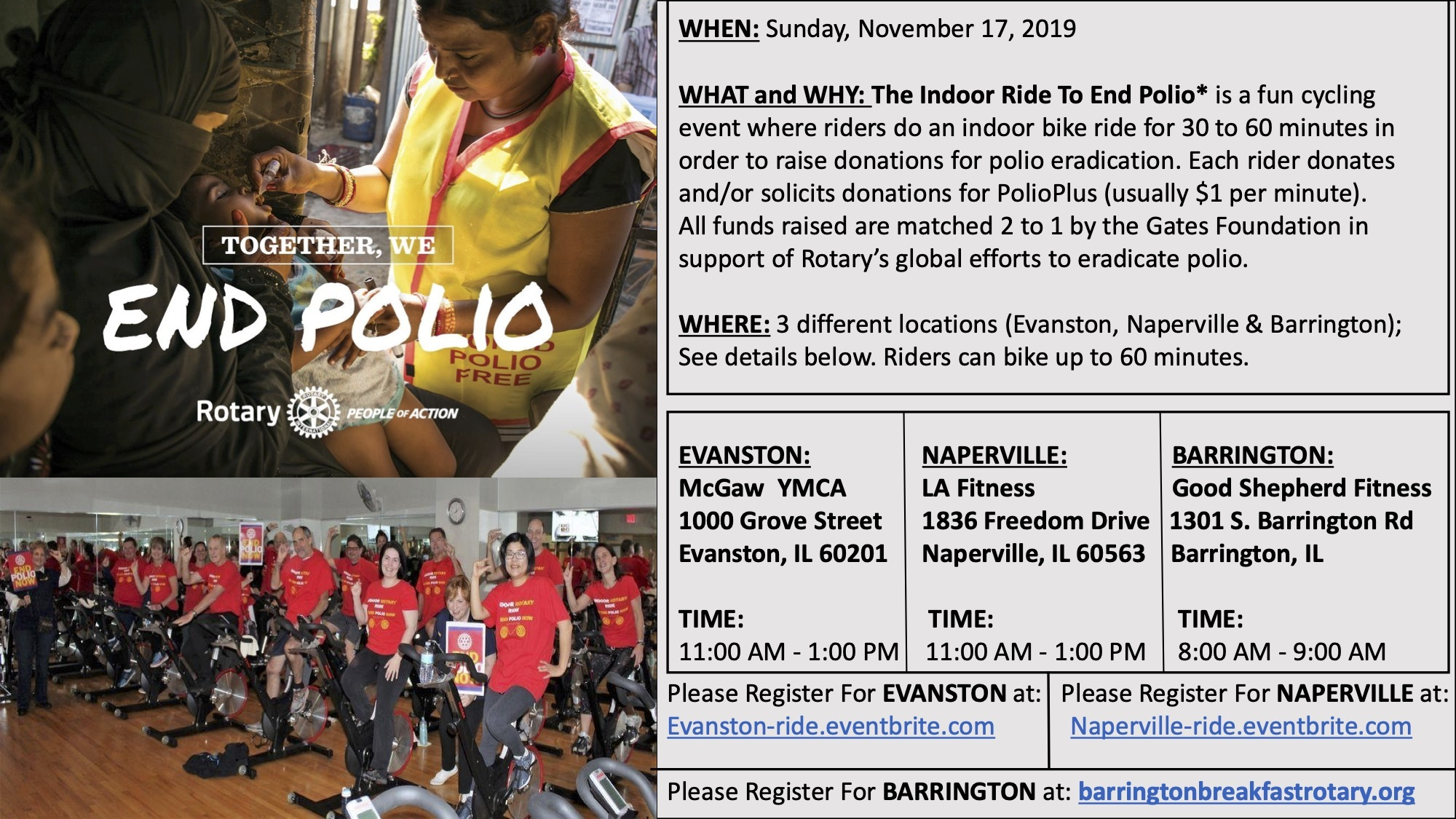 Indoor Ride to End Polio flyer