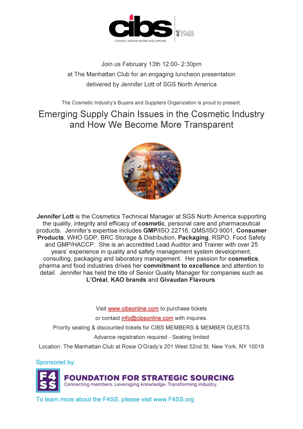 CIBS Business Luncheon Meeting - Events - Cosmetic Industry
