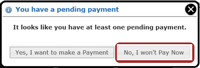Payment Popup Message