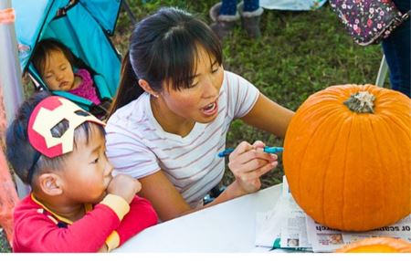 image of mother and son carving a pumpkin