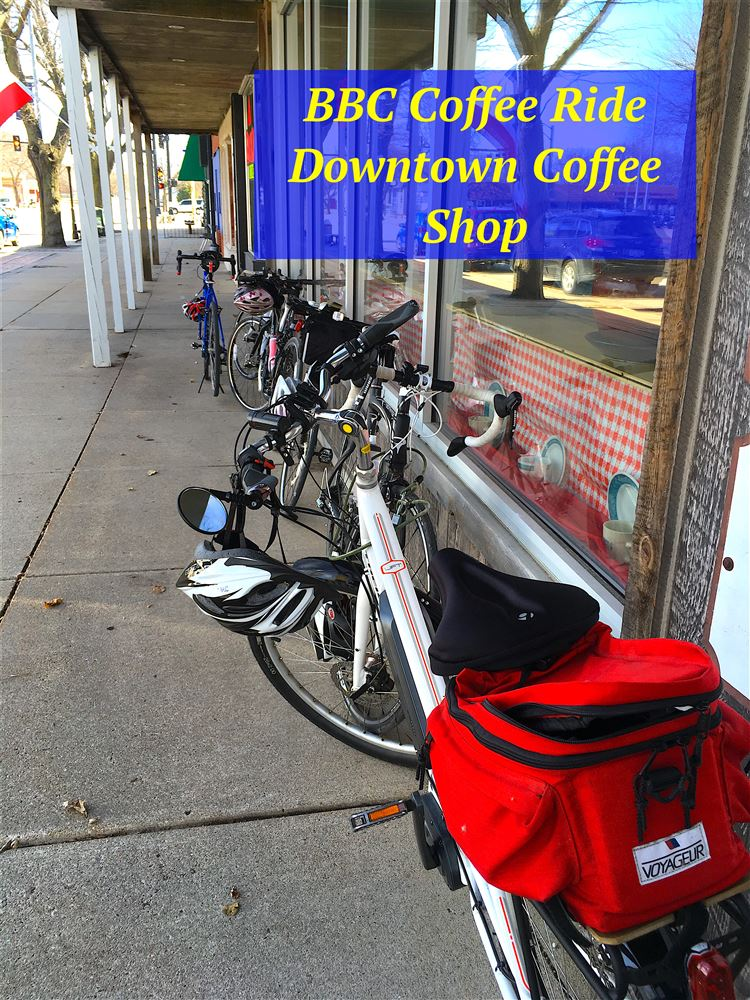 Windy but fabulous ride from Culvers to Downtown Coffee Shop! Great day for a ride!