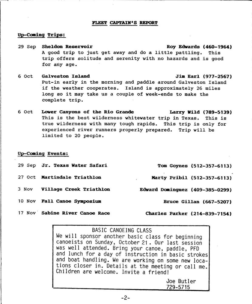 NL-1984-09 Newsletter - Houston Canoe Club