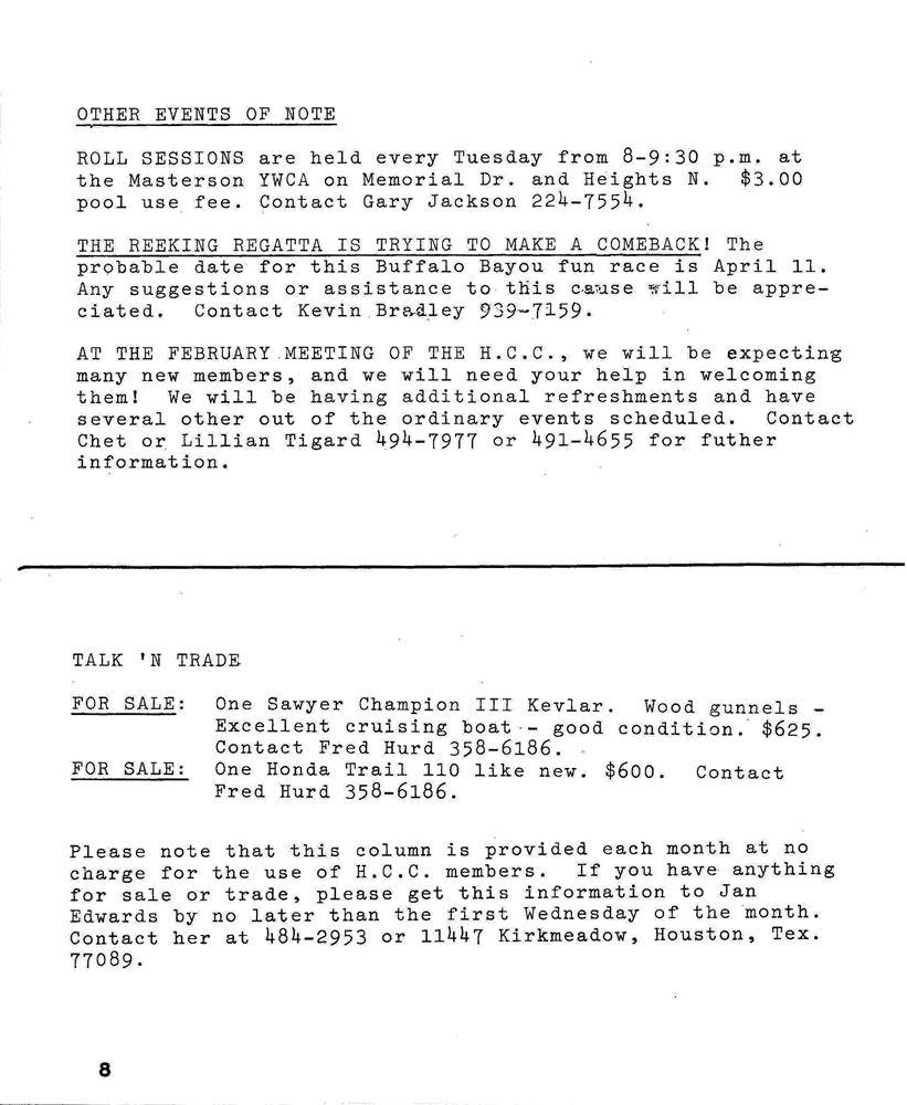 NL-1987-01 Newsletter - Houston Canoe Club