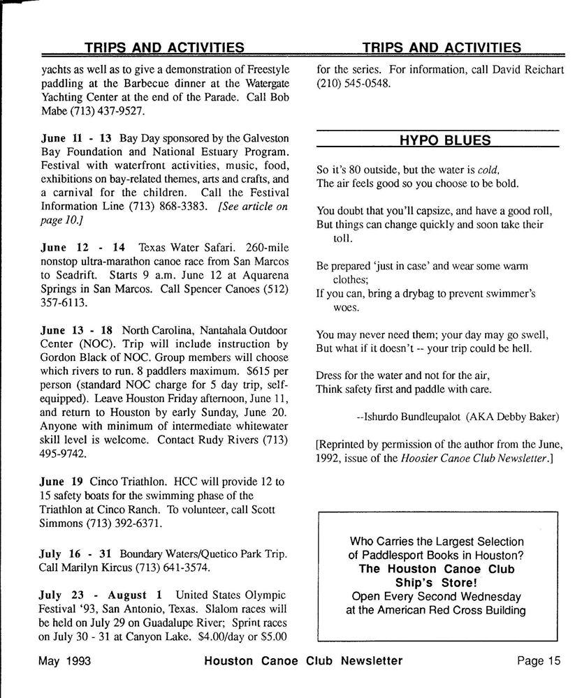 NL-1993-05 Newsletter - Houston Canoe Club