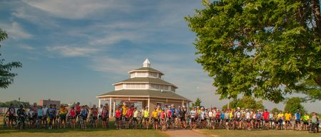 RAGBRAI training ride from Davenport to Wilton. Visit to world famous Candy Kitchen.