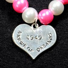 Bracelet - White and Pink Pearl w/ Charm - click to view details