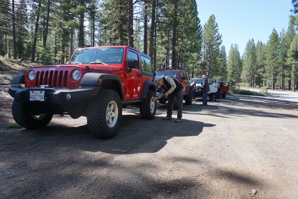 Four Jeeps demonstrating the off-road hobby for Tiffany Connolly of the Tahoe Donner News.