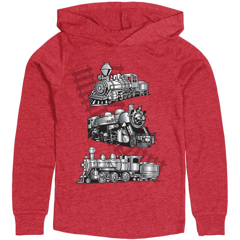 Shirt Y, LS Hoody, Metallic Train, Red, Medium