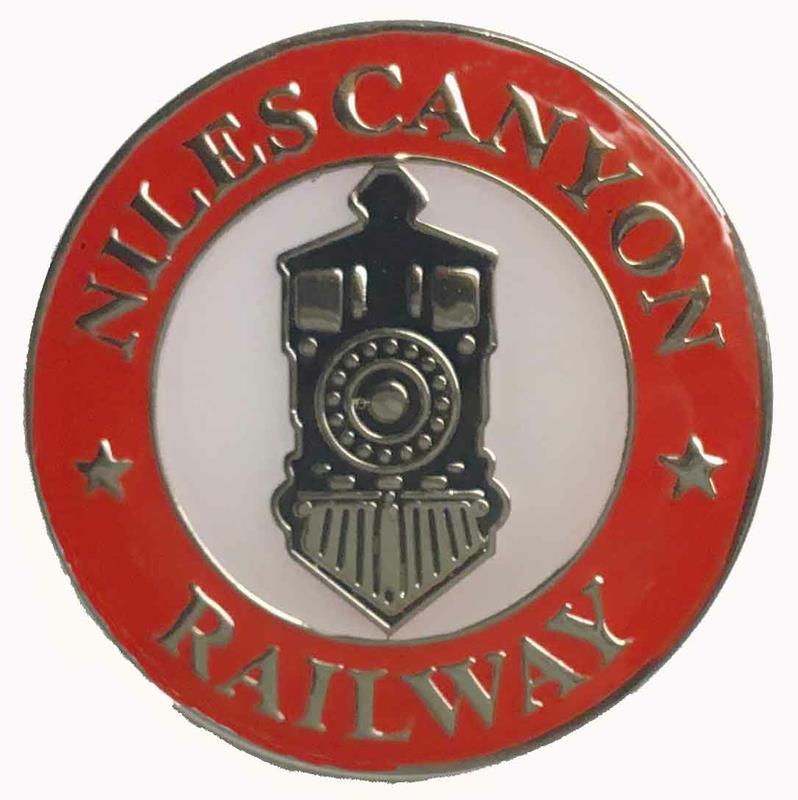 Pin, round, Steam Loco-red border NCRY