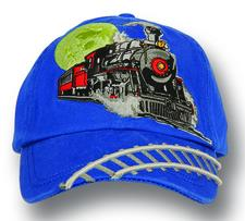 Cap, kids, royal blue, embroidered steam - click to view details