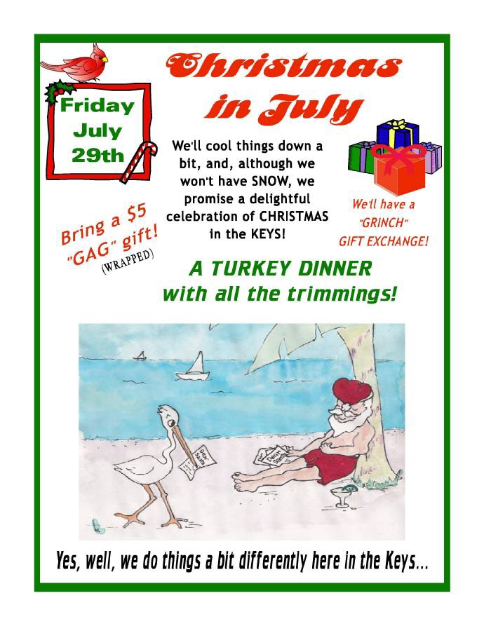 Christmas In July Gift Exchange Ideas.Christmas In July Events Marathon Yacht Club