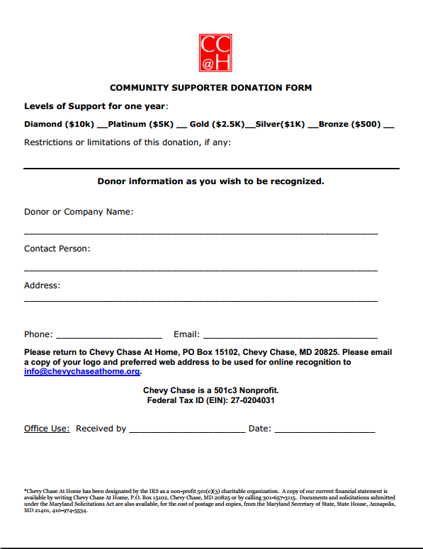 Community Supporter 2018 Donation form