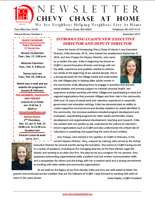 December 2019 Newsletter front page