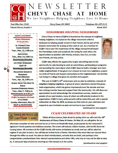 Front Page, March 2019 Newsletter