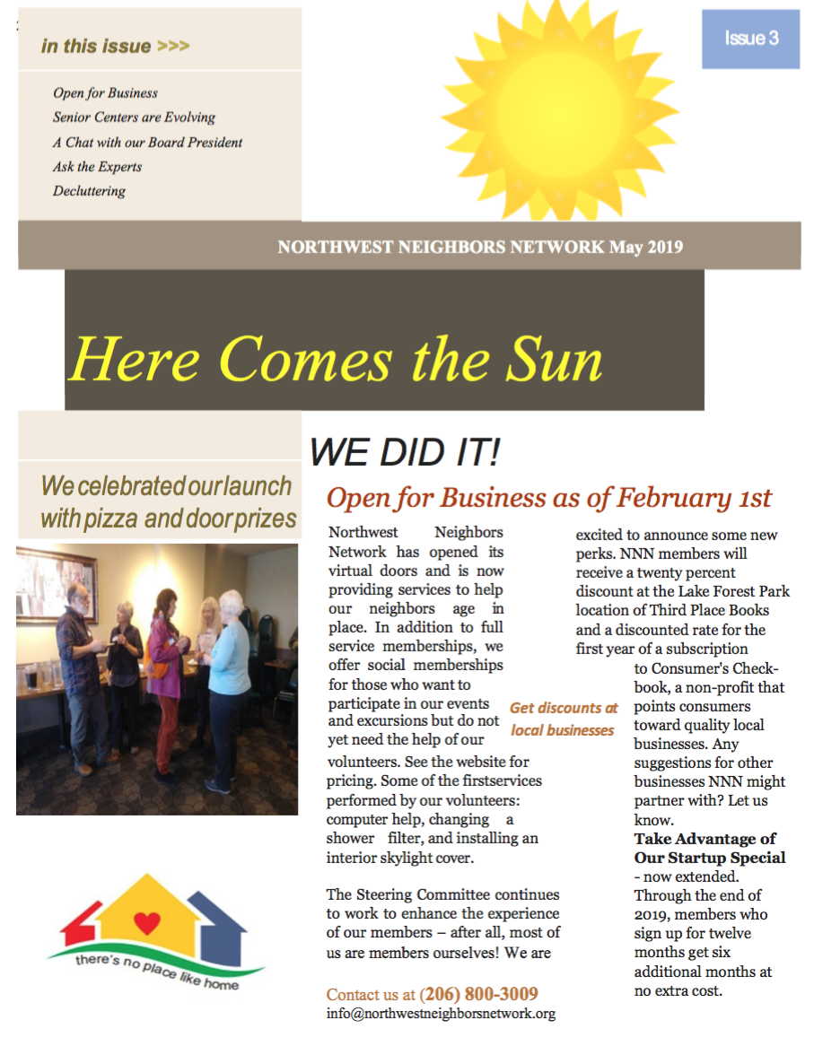 Front Page of the Newsletter