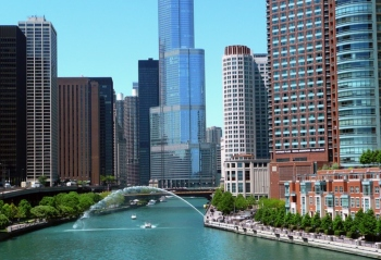 Downtown Chicago Buildings with River Between Them