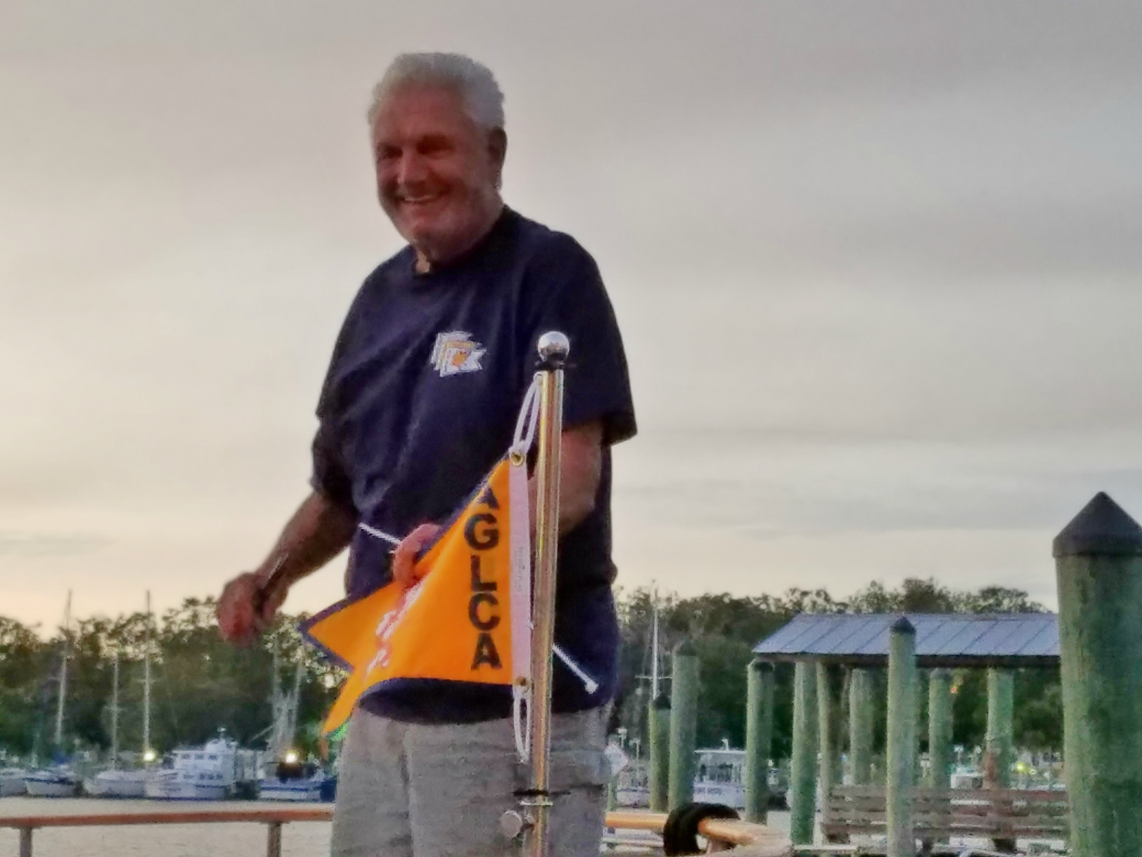 Herb Seaton With His Gold Burgee