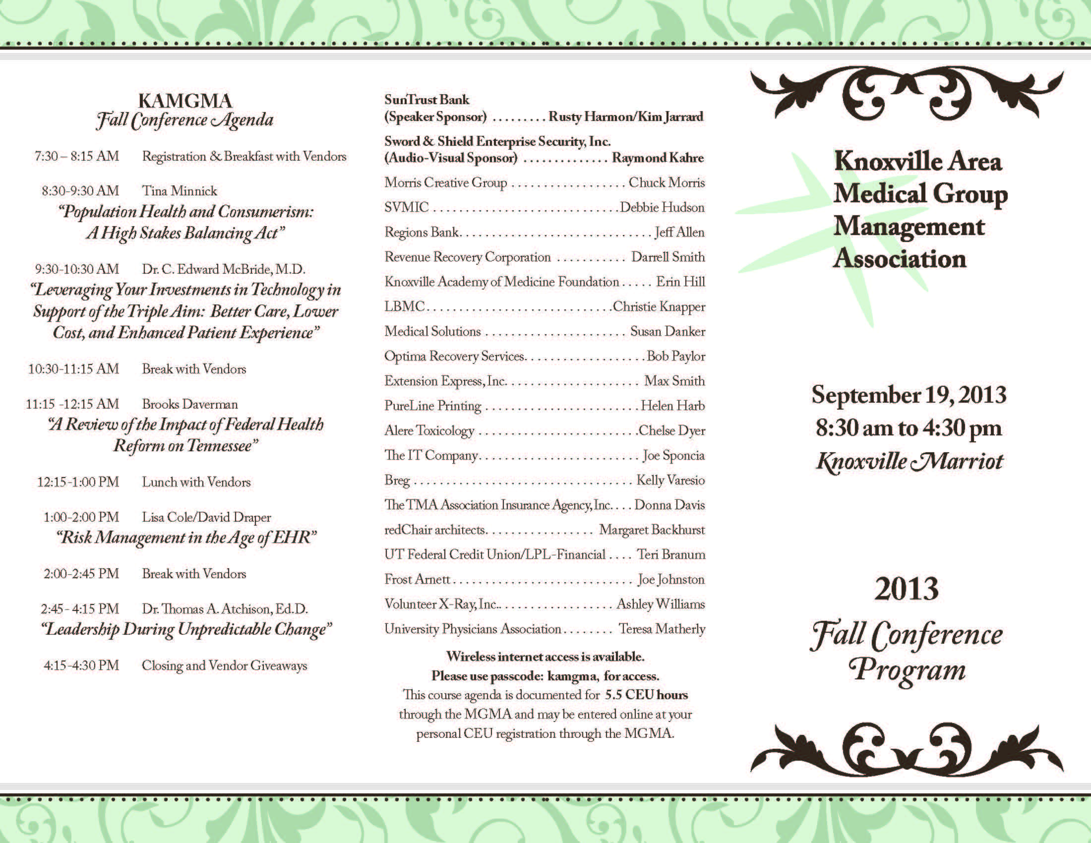 KAMGMA Fall Conference - Upcoming Events - Knoxville Area