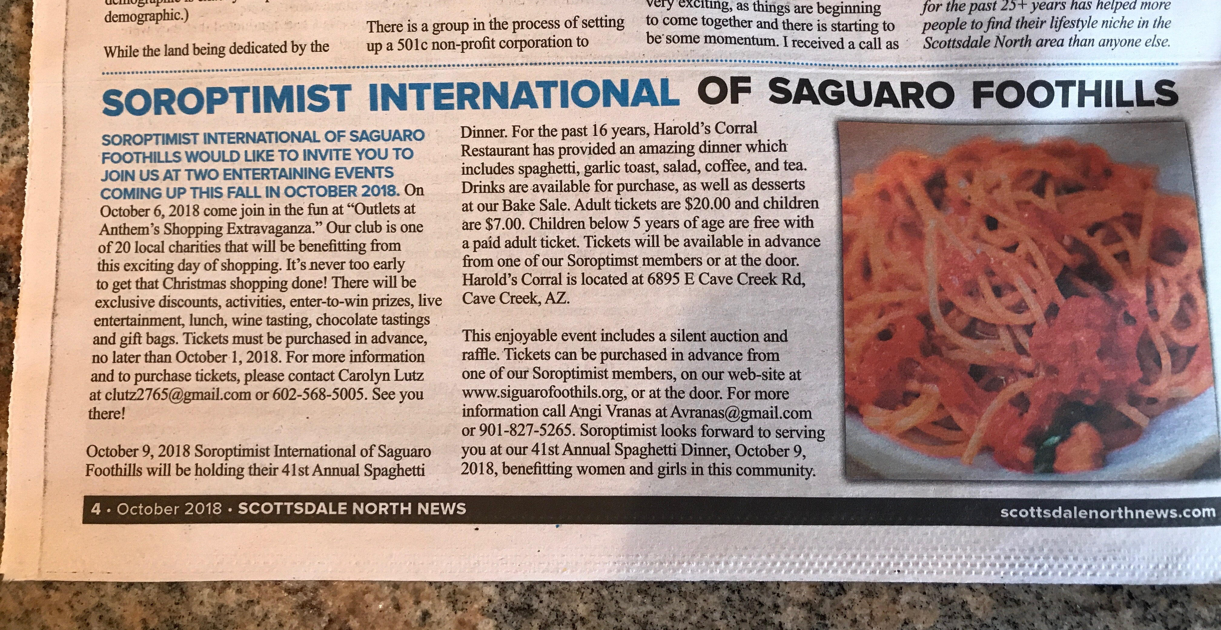 10/18 Spaghetti Dinner article in Scottsdale North News