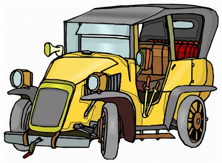 Yellow Classic Car Cartoon