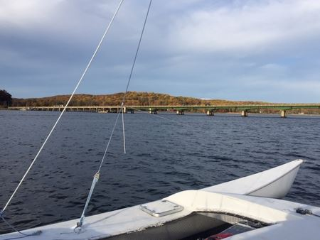 Traveling down the Navesink River on the way to Forked River for the winter