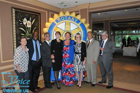 Rotary District 6450 Governor Nicki Scott presides over officer inductions for Aurora Noon, Aurora Sunrise, and Oswego Rotary Clubs