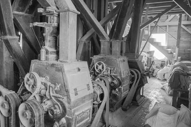 Cedar Forest Mill, Built: 1880, Powered By: Overshot Wheel, Electric,Condition: Operational, Roller Mill and Buhrstones