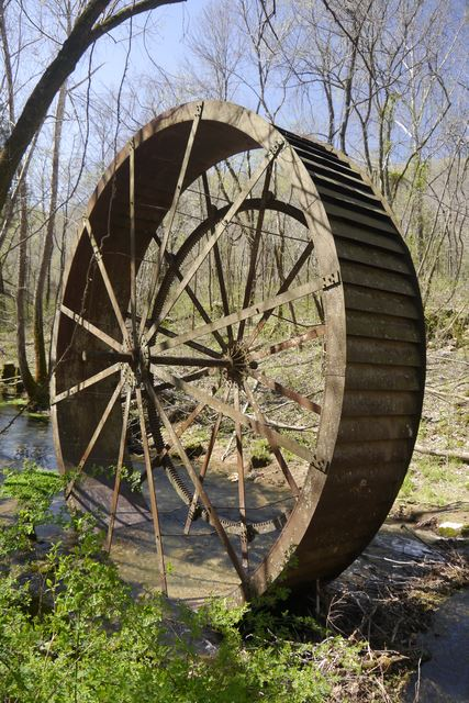 Turner Grist Mill, Built in 1850, Overshot Wheel installed in 1915. Mill was dismantled in 1970s