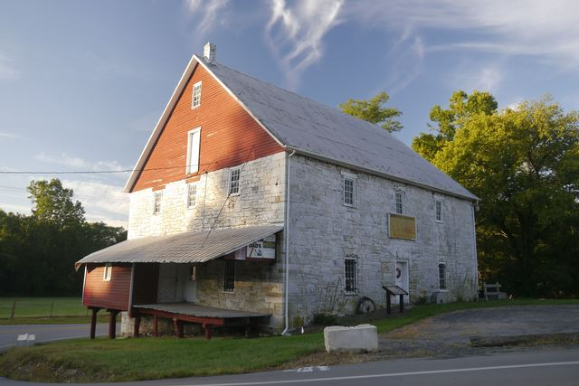 Bunker Hill Mill, Built 1888, Powered by Dual Overshot Wheels, Non-Operational