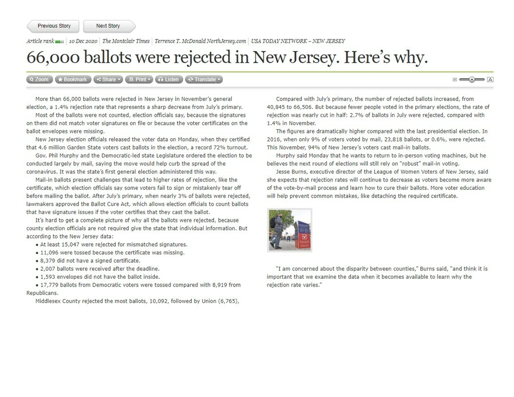 66,000 Ballots Rejected in Nj