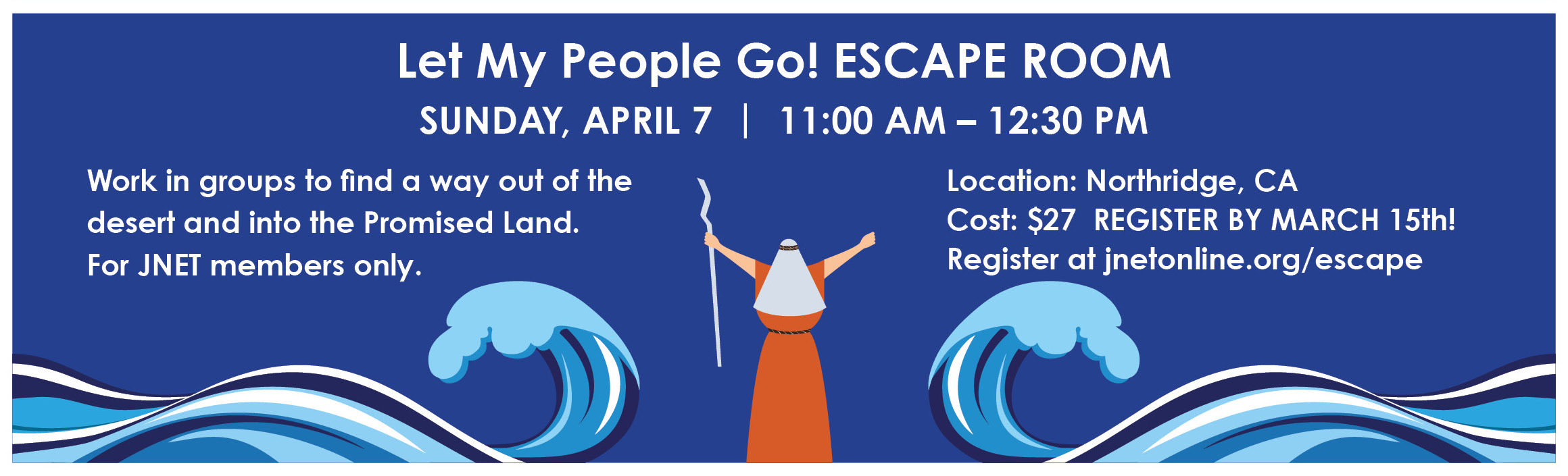 JNET Let My People Go Escape Room event promo