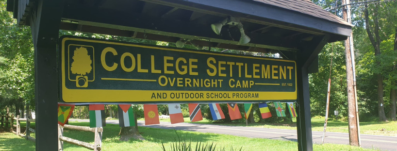 College Settlement camp sign