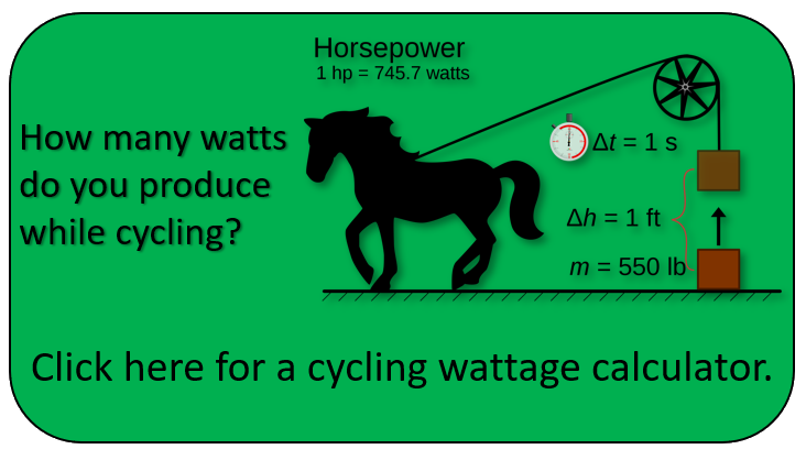 Click for cycling wattage calculator