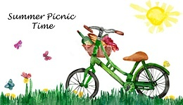 Summer Picnic Time, with bicycle