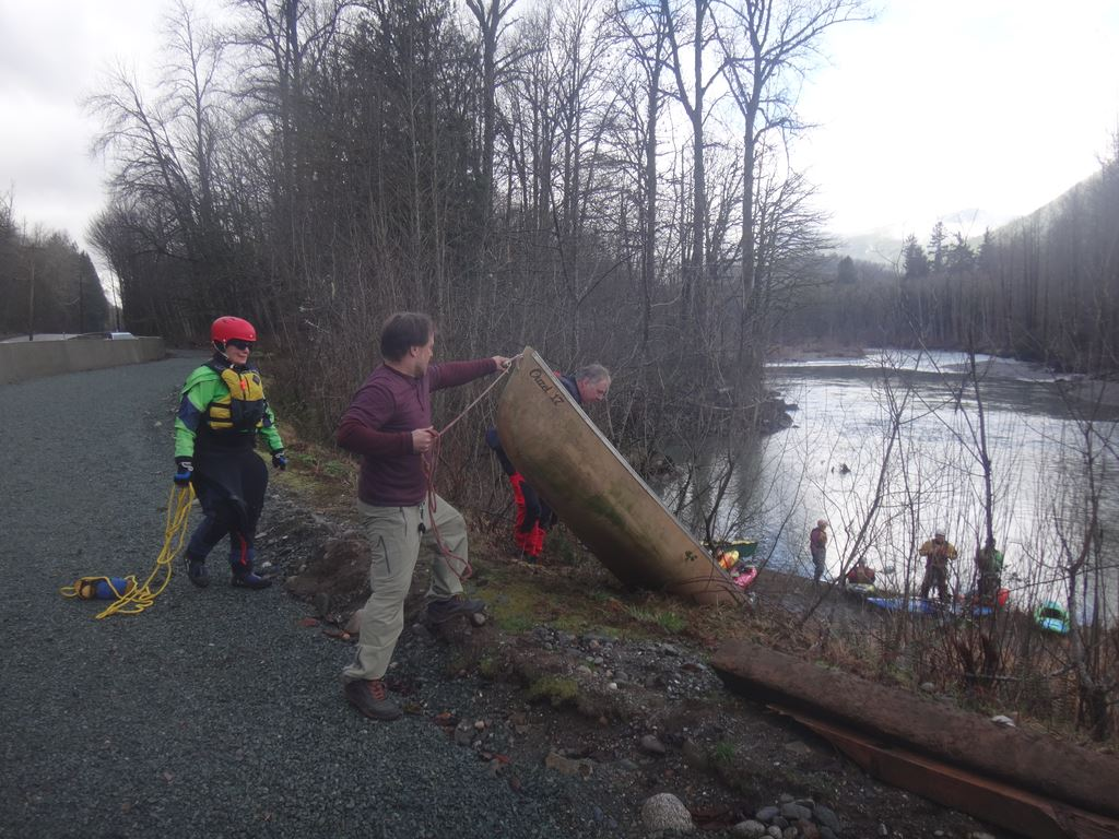 Joint trip with WKC.  14 people + 1 dog in 11 boats paddled the Oso section of NF Stilly and had a fun lunch on the leap day