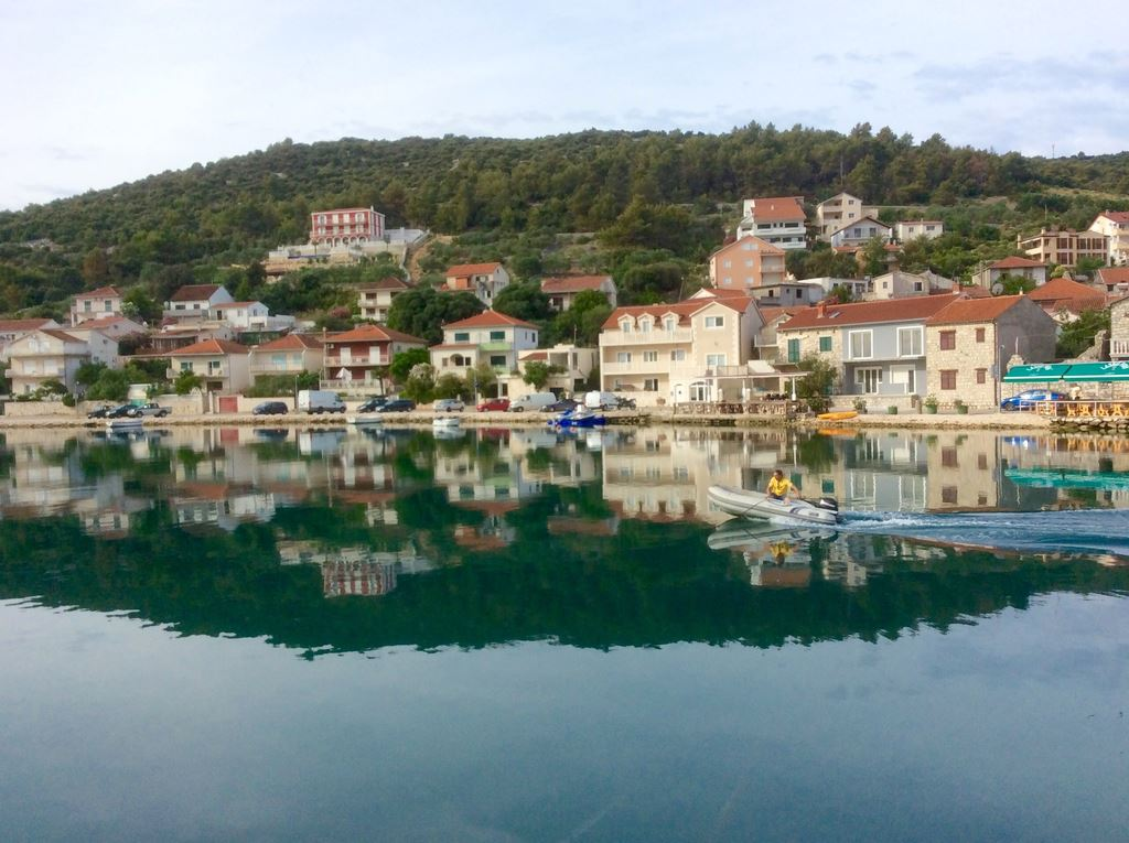 Shoreline of Buildings from Dinghy in Croatia